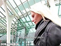 Gorgous blonde Czech girl is picked up and paid for public sex
