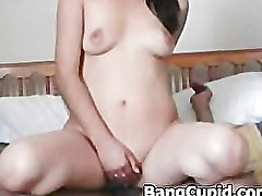 Asian babe takes first time a bbc in her ass