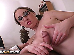 Great handjob from busty amateur wife in hot handjob porn 4