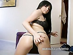 Slutty dirty talking EMO exgf showing ass off in lingerie