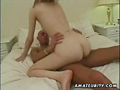 Hot blonde amateur girlfriend interracial action with cum