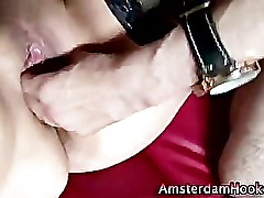 Mature stockings hooker gets a cumshot