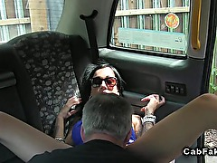 Busty amateur anal fucks in fake taxi