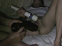 wife enjoys fist of hubby and huge toys - I like this video!