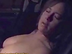 Busty gf naked n masturbating in the passenger seat