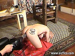 Amateur slave fisted and foot fucked in both