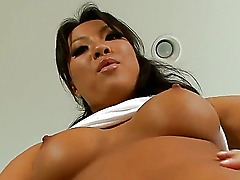 Exquisite peach Asa Akira with snazzy tits and sportive buttocks is masturbating in foxy lingerie. Asian bitch love to feel her fingers in warm cunt, take a closer look at this