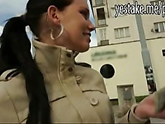 Hot brunette girl gives a public blowjob and is banged
