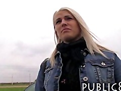 Hot amateur blonde public toilet fuck and cumshot
