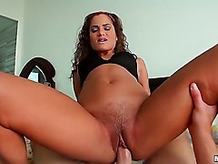 Turned on ball sucking curly young looking brunette Chichi Medina with natural boobies gives head to filthy dude and rides on his cock with her wet trimmed minge in point of view.