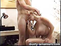 Busty Heather sucking cock while playing her pussy