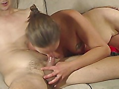 Slutty wife sucks cock and gets a facial