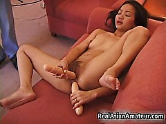 Dyke dildoing and eating real real asian