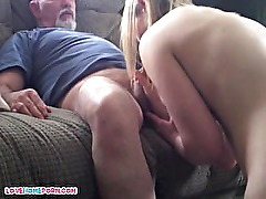 Daddy fucks her younger female lover