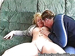 British blonde has an amateur threesome