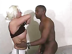 Amateur blonde fucking with black dick