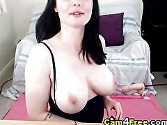 Busty French babe drills her pussy