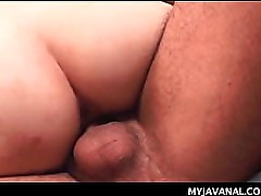 Tiny boobed Asian fitting cum loaded shaft up in her pussy