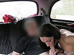 Pierced nipples amateur gangbang in fake taxi