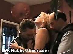 Blonde milf amateur housewife hardcore cuckold gangbang and creampie