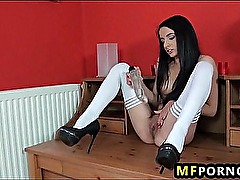 Skinny schoolgirl puts dildos in her pussy and ass Karry 2
