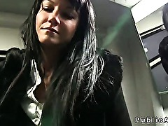 Dark haired amateur fucked in train in public