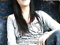 Real amateur eurobabe banged in the bus with horny stranger