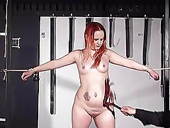 Redhead amateur slaves whipping and tied dungeon