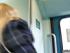 Sexy amateur boned and creampied in a train toilet