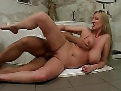 Busty amateur wife sucks and fucks in her bathroom