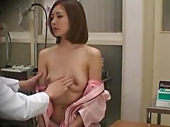 Amateur asian gets her tits out for her doctor