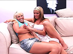 Shy sweetie Tiffany was nuts about cowboy butts! One kiss from pretty Kelli and she traded nuts for sluts and was all over her pretty pussy! Watch as this sexy blonde honey goes from bronc busters to rug munchers in her first lesbian sex!