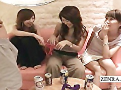 Subtitled Japanese milf group view a CFNM lingerie show