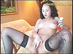 A big rabbit dildo and some lube... this kinky brunette just disc