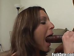 hot amateur brunette takes her first big black cock