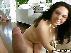 Classy milf fills mouth with cock and loves it