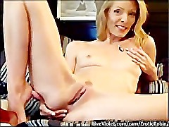 Stunning Blonde masturbates for webcam