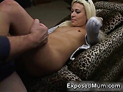 Hottie mom drilled on the couch