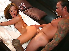 Gorgeous brunette with amazing body - Sheena Shaw sucks a fucking huge cock, then she want to take a ride on this dick, in the end she gets creampied!