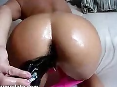 Sexy babe gets her ass stuffed with big dildo