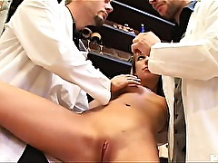 Sweet Carmelita had no idea that she was in for a thorough inspection. These so-called doctors didnt even have any equipment! But, for the inspection they were going to do the only equipment they needed was their juicy cocks!