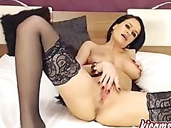 Best brunette perfect camgirl masturbates for