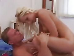 Amateur sweet blonde girl with small tits fucking in bedroom