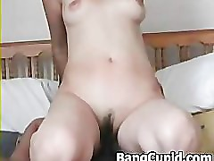 Asian babe takes a bbc in her ass