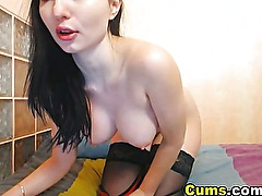 Lingerie babe grinds her pussy on her dildo