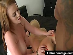 Two white latina MILFs fucked by black man
