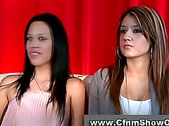 Two amateur babes make CFNM guy strip and check him out