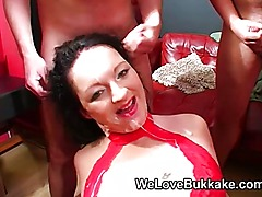 British MILF deepthroats and eats cum