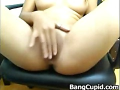 Sexy asian babe toys her tight ass