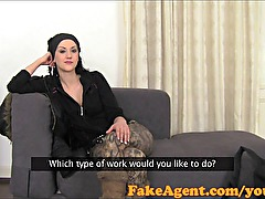 FakeAgent Hippy chick fucks to get a job